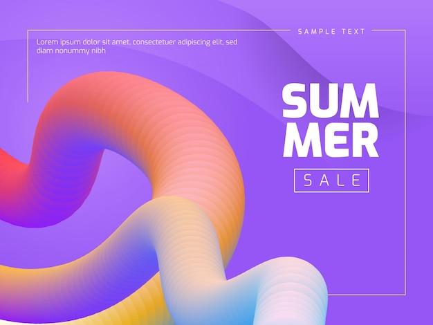 Summer sale template banner fluid design