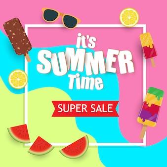 Летняя распродажа шаблон, баннер с мороженым и фруктами