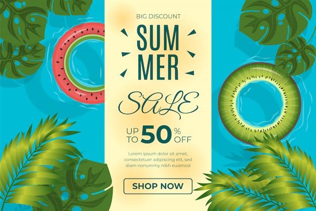 ライフタイヤと熱帯の葉の夏販売テンプレートデザイン