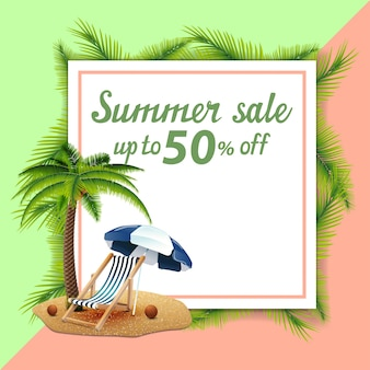 Summer sale, template for discount banner in the form of a sheet of paper