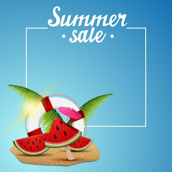 Summer sale, template for discount banner