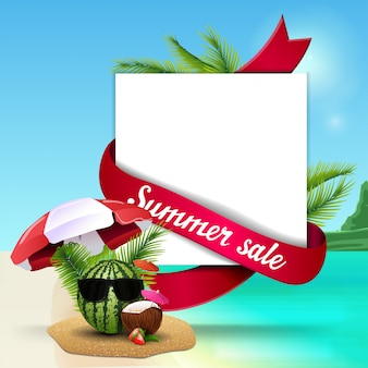 Summer sale, template for discount web banner with space for text