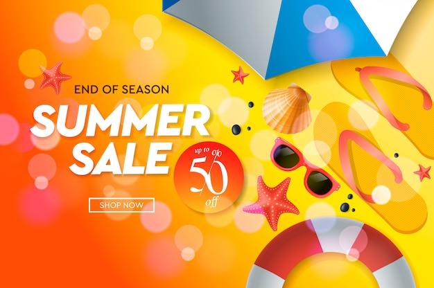 Summer sale template, web banner, illustration.