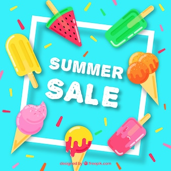 Summer sale template with delicious ice creams
