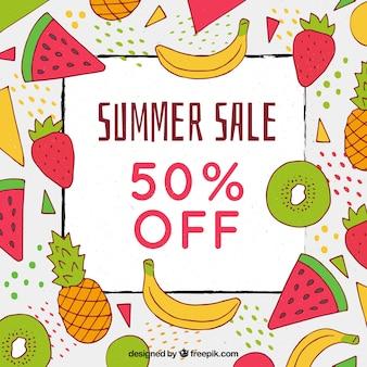 Modello di vendita estiva con diversi tipi di frutta