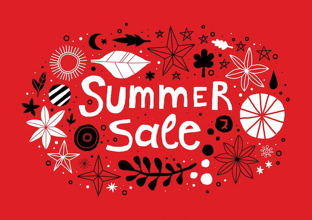 Summer sale template with flowers and abstract hand drawn elements