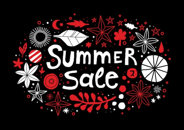Summer sale template with flowers