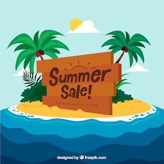 Summer sale template with island
