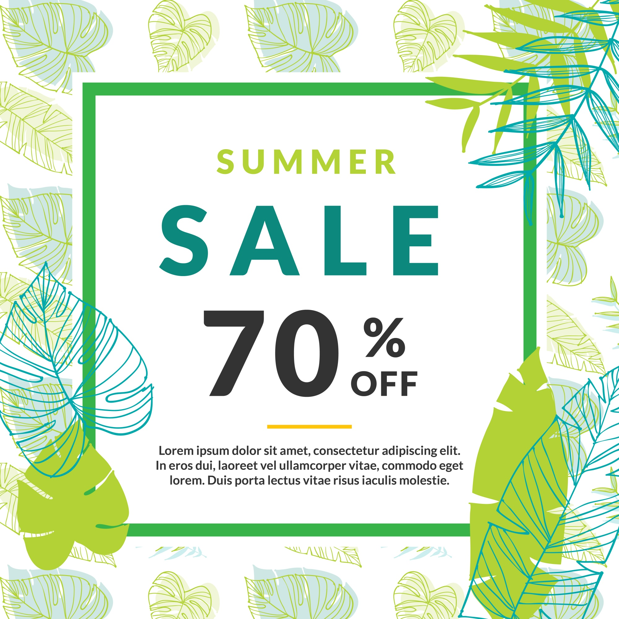 Summer sale template with palm leaves