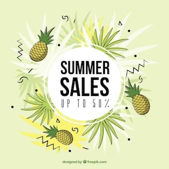 Летний шаблон для продажи с ананасами в ручном стиле