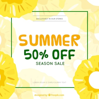 Summer sale template with pineapples pattern