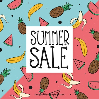 Summer sale template with tasty fruits