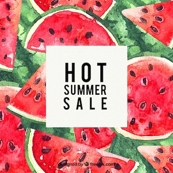 Summer sale template with watermelons in watercolor texture