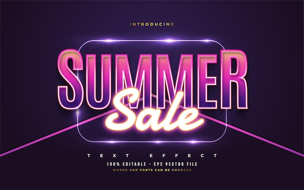 Summer sale text in colorful retro style and glowing neon effect. editable text style effect