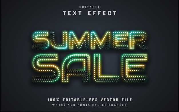 Summer sale text, neon style text effect