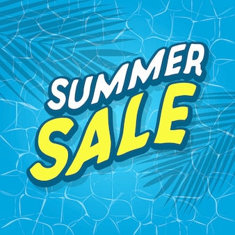 Summer sale text with sea or pool surface and palm leaves.