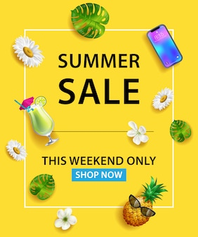 Summer Sale This Weekend Only Shop Now lettering. Smartphone, cocktail, pineapple