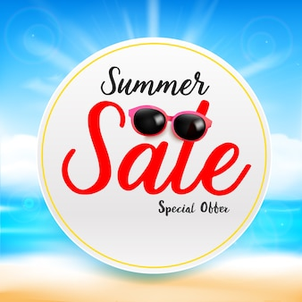 흰색 원 프레임 추상 흐림 모래 해변에 여름 판매 제목 텍스트