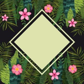 여름 세일 유행 열 대 잎과 꽃. 디자인. 이국적인 식물과 히비스커스 꽃의 배경 템플릿