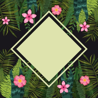 Summer sale trendy tropical leaves and flowers. design. background template of exotic plants and hibiscus flowers