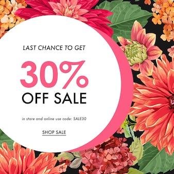 Summer sale tropical banner flowers