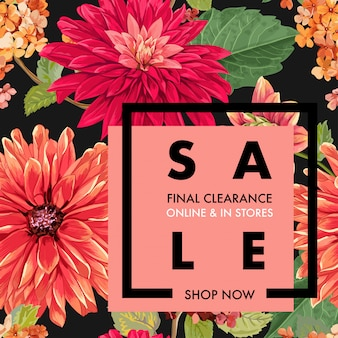 Summer sale tropical banner flowers