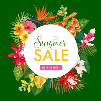 Summer sale tropical banner template. seasonal promotion with exotic flowers and leaves.