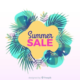 Summer sale tropical banner