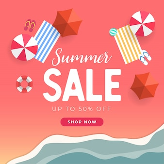 Summer sale tropical beach top view banner template.