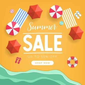 Summer sale tropical beach top view banner template