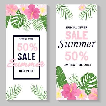 Летняя распродажа тропический красочный фон с экзотическими листьями и цветами гибискуса.