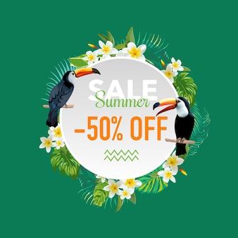 Летняя распродажа, баннер с тропическими цветами и экзотическими птицами, для плаката со скидкой, модная распродажа, рыночное предложение
