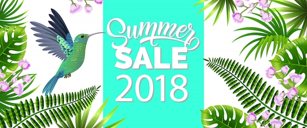 Summer sale, twenty eighteen blue banner with tropical leaves, lilac flowers and hummingbird