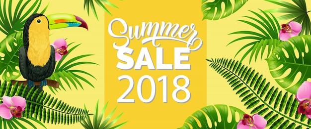 Saldi estivi, venti diciotto banner giallo con foglie di palma, fiori tropicali