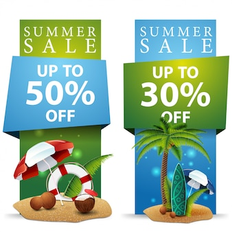 Summer sale, two discount banners
