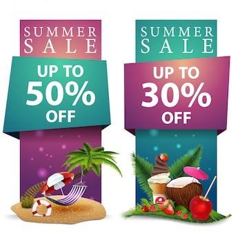 Summer sale, two discount vertical banners