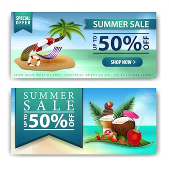 Summer sale, two horizontal discount banners for your business