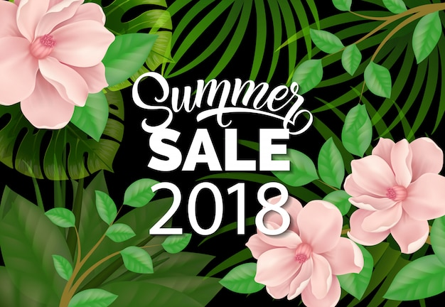 Summer sale two thousand eighteen lettering and beautiful plants.