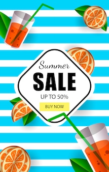 Summer sale up to 50% banner template with button buy now and colorful tropical fruits.