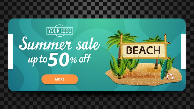 Summer sale, up to 50% off, discount web banner for your website
