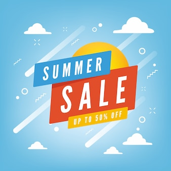 Summer sale up to 50 percent off promotion banner with blue sky & clouds background.