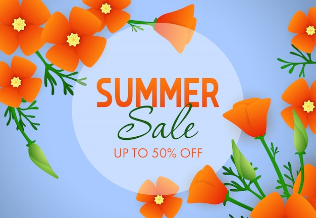 Summer sale, up to fifty percent off lettering with flowers