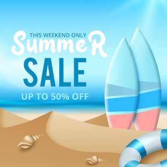 Summer sale vector banner background. summer sale discount text in empty space with beach elements. vector illustration