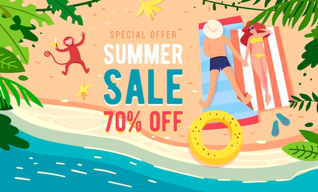 Summer sale vector banner design with colorful beach elements.