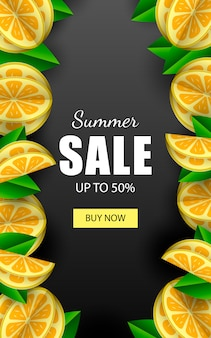 Summer sale vector banner template with lemons.