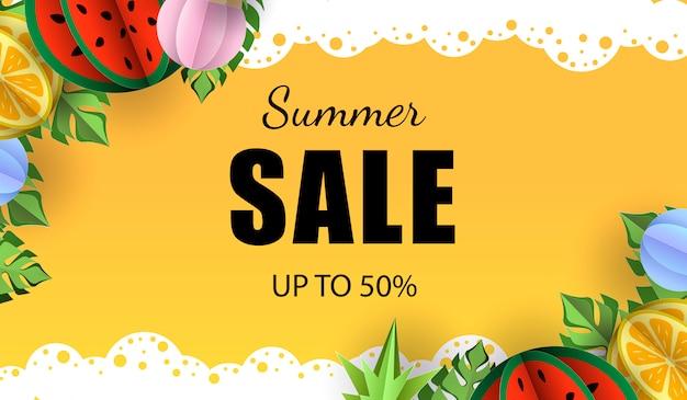 Summer sale vector banner template