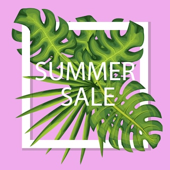 Summer sale vector banner with exotic plants. realistic palm leaves