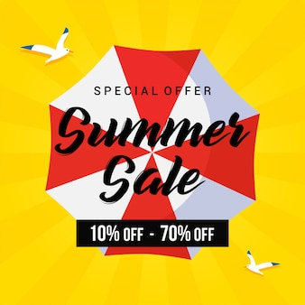 夏セールベクトル、海鳥とビーチパラソル