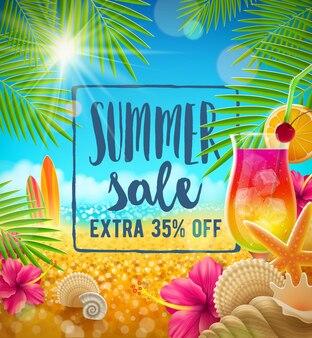 Летняя распродажа векторный дизайн летние каникулы и каникулы иллюстрация