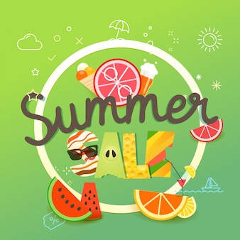 Summer sale vector illustration. season sale concept